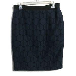 Ann Taylor Navy Blue Circle Print Pencil Skirt 6